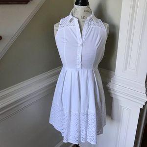 Ann Taylor Shirt Dress Sleeveless White Eyelet NEW